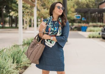 Denim dress and suede knee-high heeled boots