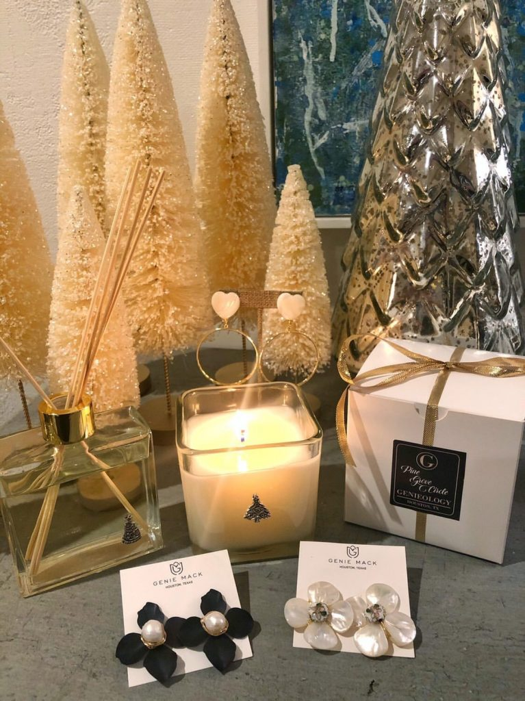 Genie Mack earrings and candles | Adored by Alex