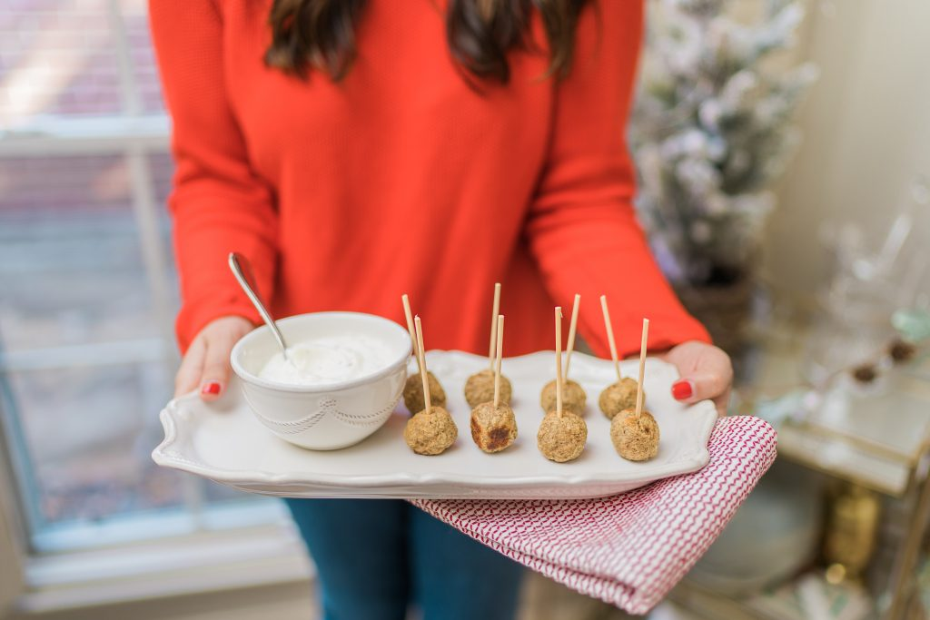 Simple and delicious Turkey meatball and dip appetizer idea