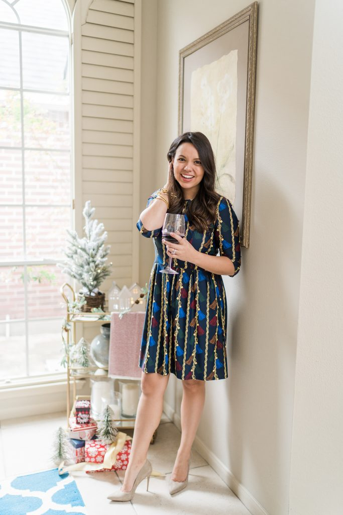 Jude Connally Brynn printed dress for the holidays