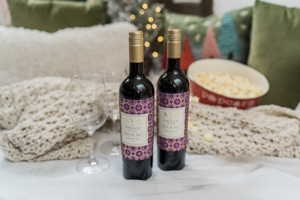 At home cozy movie night with AVA Grace Vineyards