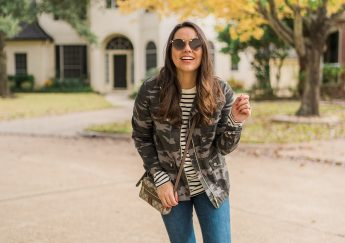 Camouflage field jacket and striped long-sleeve tee