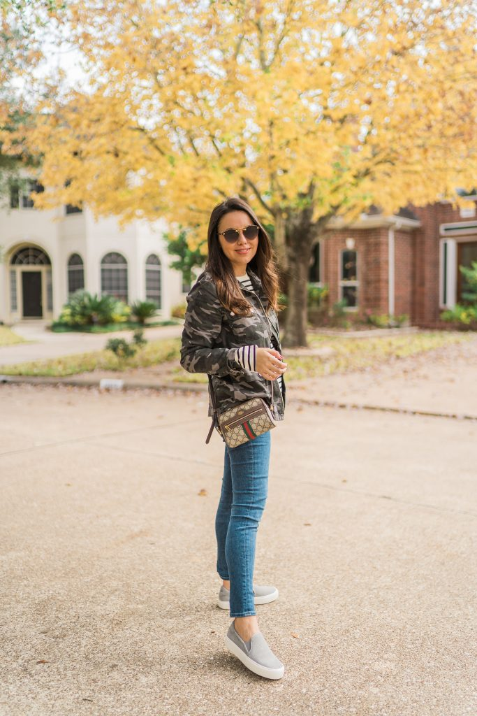 Camo prints and stripes pattern mixing | Adored by Alex