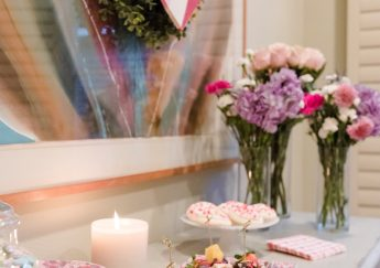 Valentine's Day dessert bar and decor