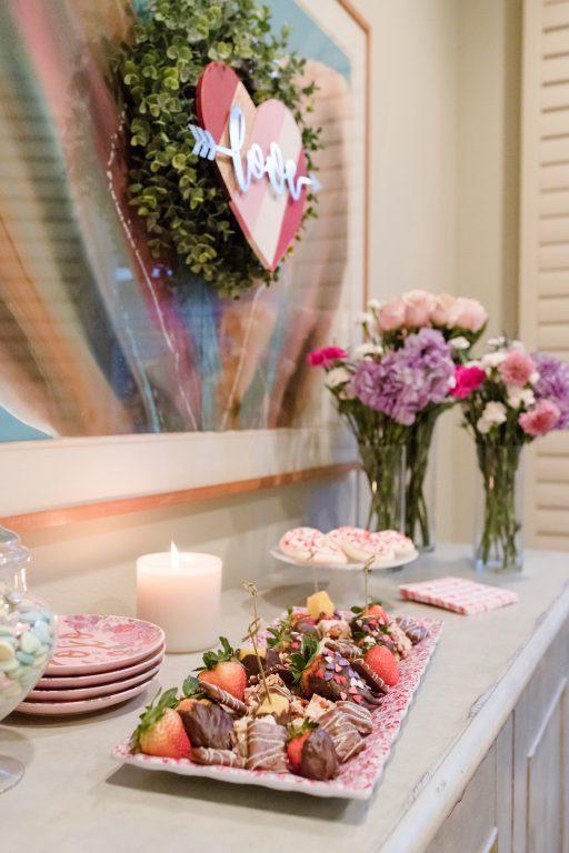 Valentine's Day dessert bar and decor