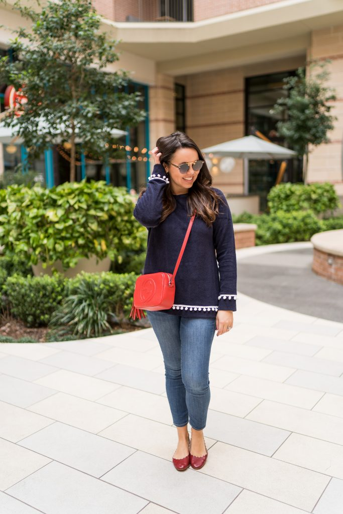 Red, white and blue preppy outfit idea