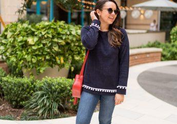 Duffield Lane preppy pom pom trim sweater