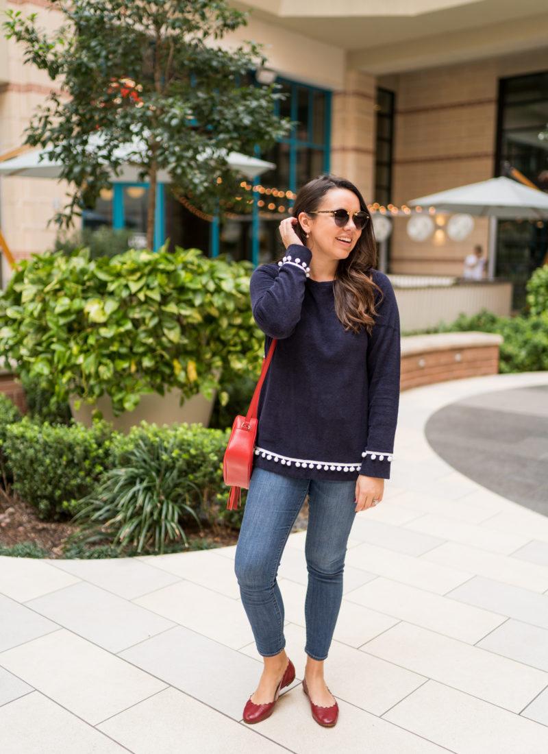 Preppy Pom Pom Trim Sweater