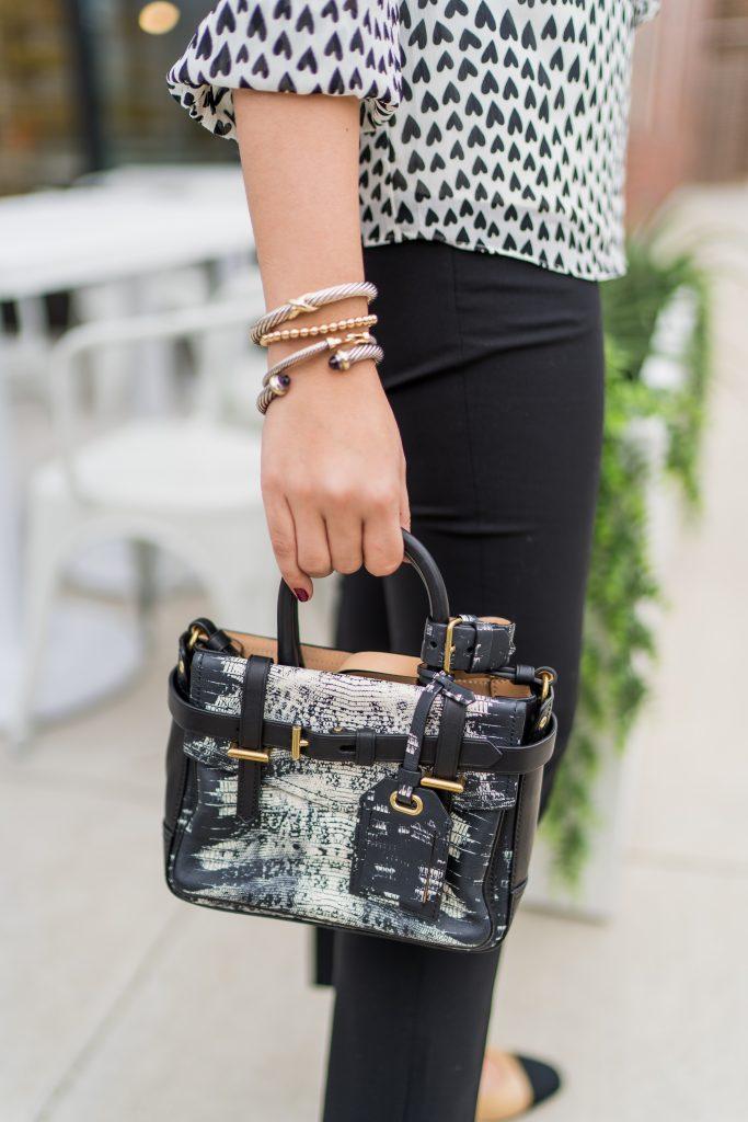 snakeskin print mini leather handbag, David Yurman bracelet stack