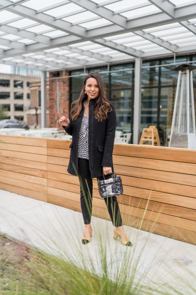 Black wool overcoat for women, Chanel slingback pumps