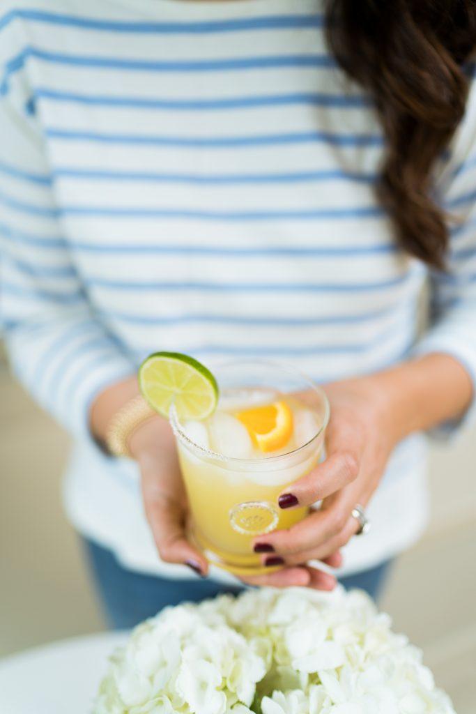 Tasty skinny margarita recipe served in Juliska glasses