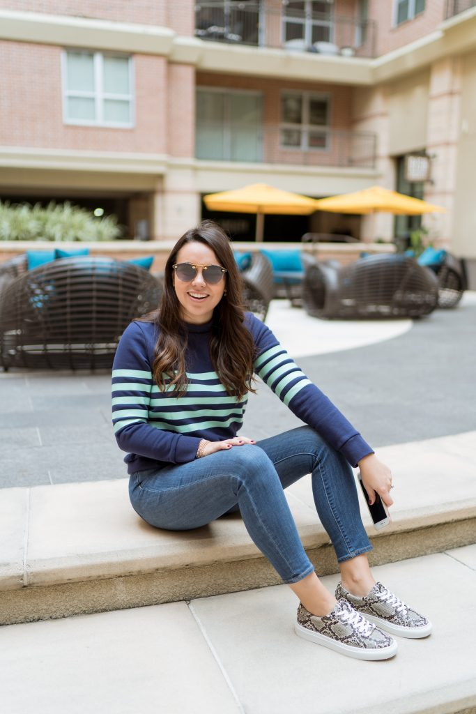 Preppy striped terry sweatshirt