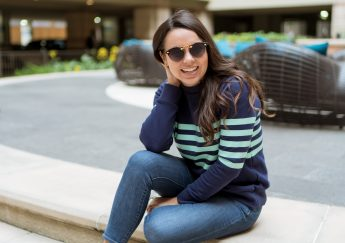 Preppy striped terry sweater work from home outfit