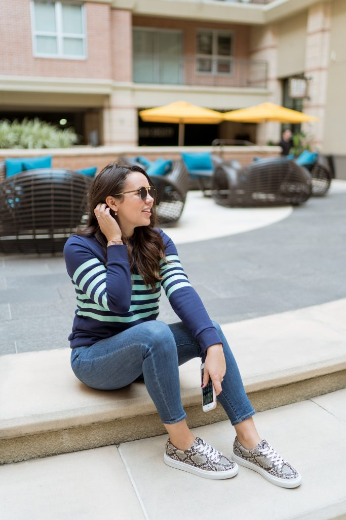 Sail to Sable striped sweatshirt, preppy outfit idea