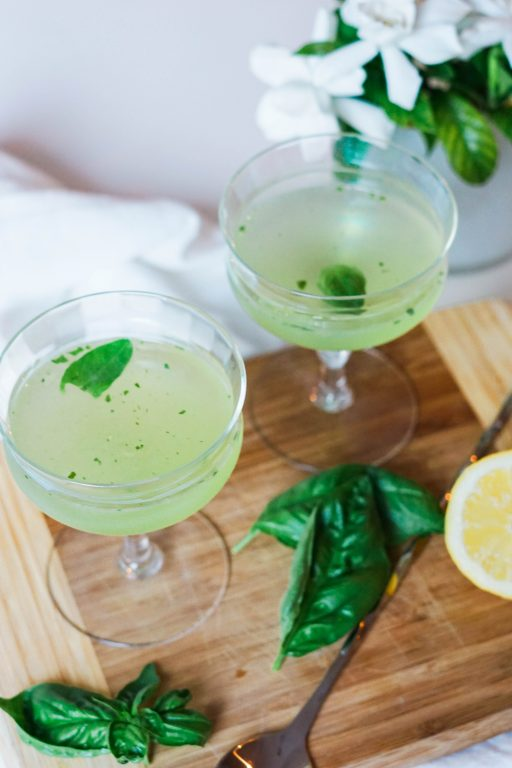 basil lemon smash martini cocktail