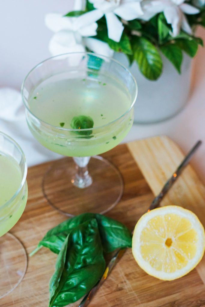 Fresh basil and lemon cocktail