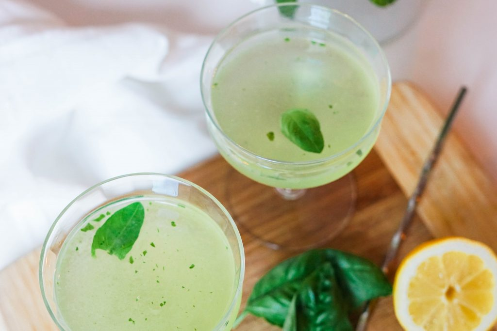 Lemon Basil Smash cocktail recipe
