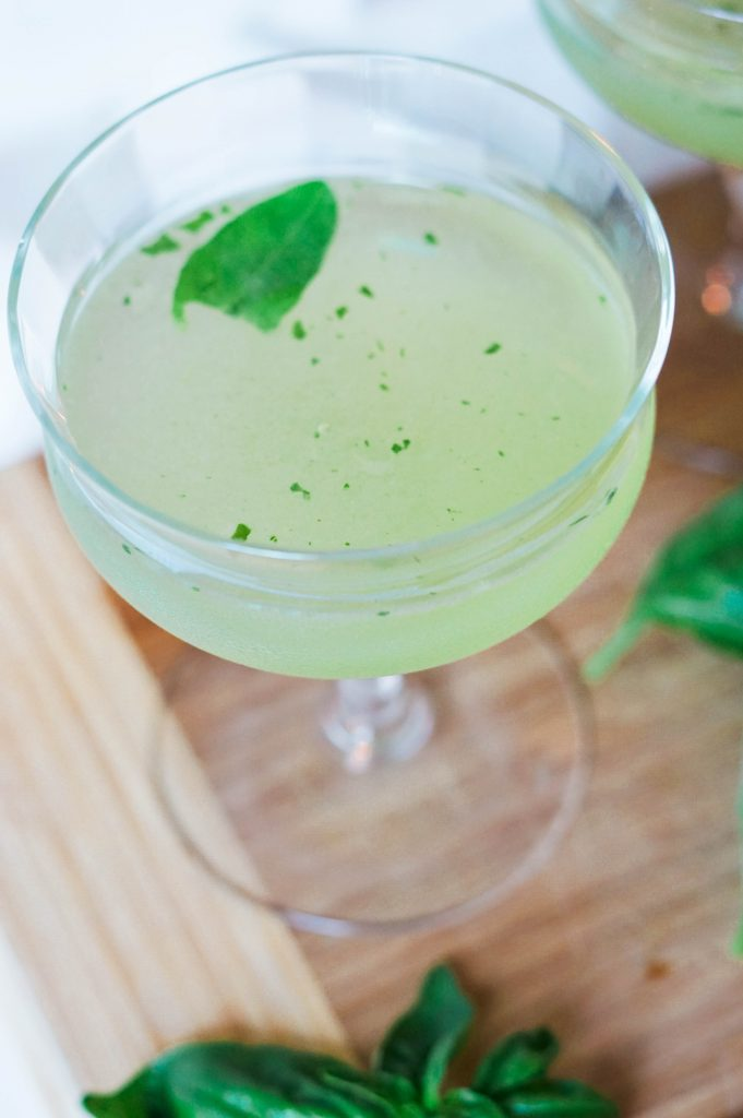 Basil lemon smash cocktail