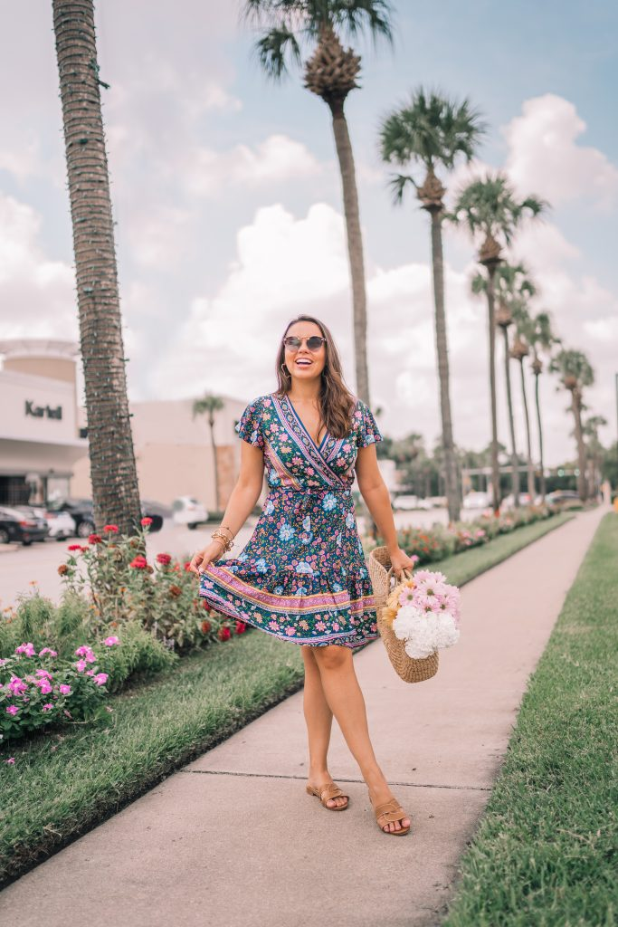 Floral wrap dress for summer