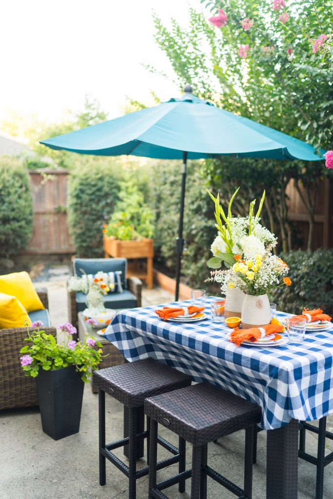 Citrus inspired preppy tablescape and patio