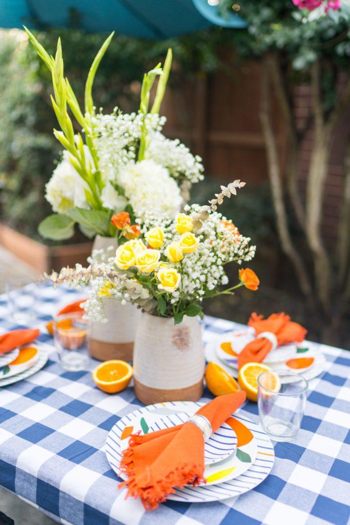 Summer citrus outdoor tablescape