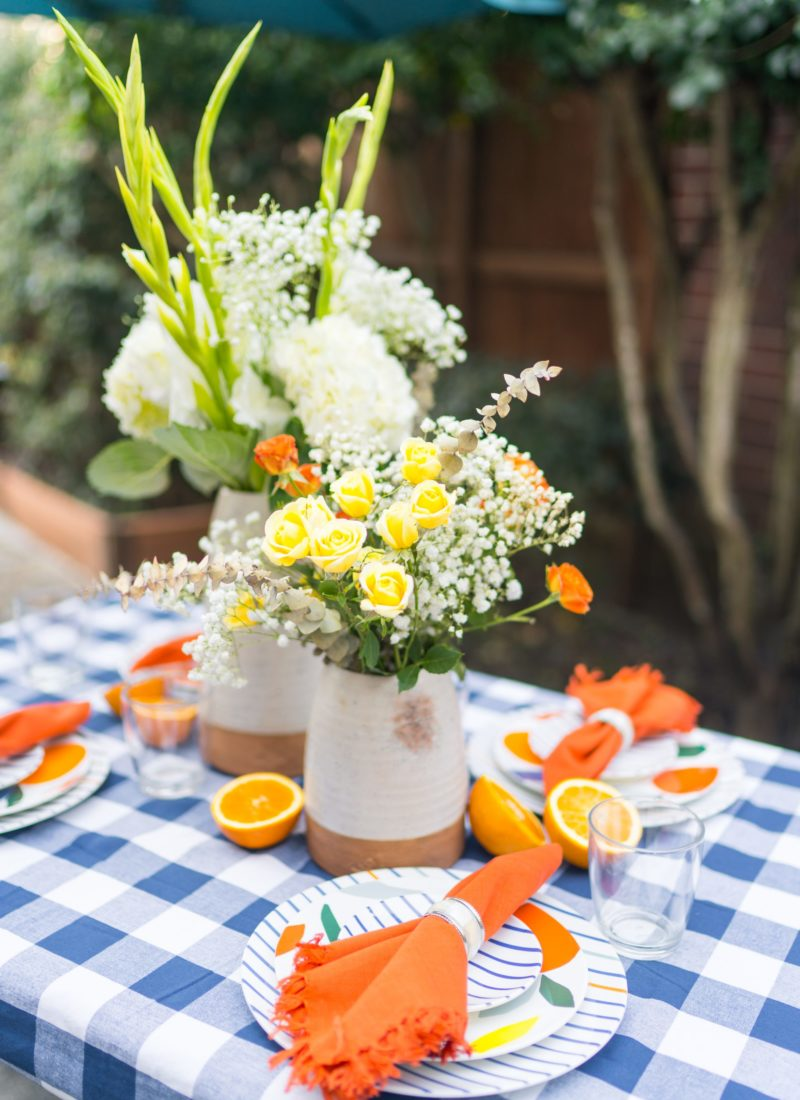 Summer citrus outdoor tablescape
