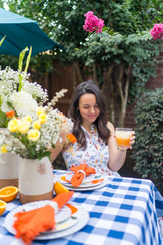 Gingham and citrus pattern summer tablescape