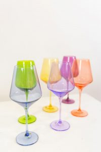 Estelle Colored Glass stemware options - Adored by Alex