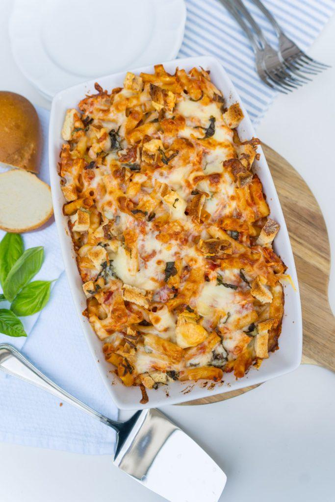 Chicken parmesan baked ziti dish