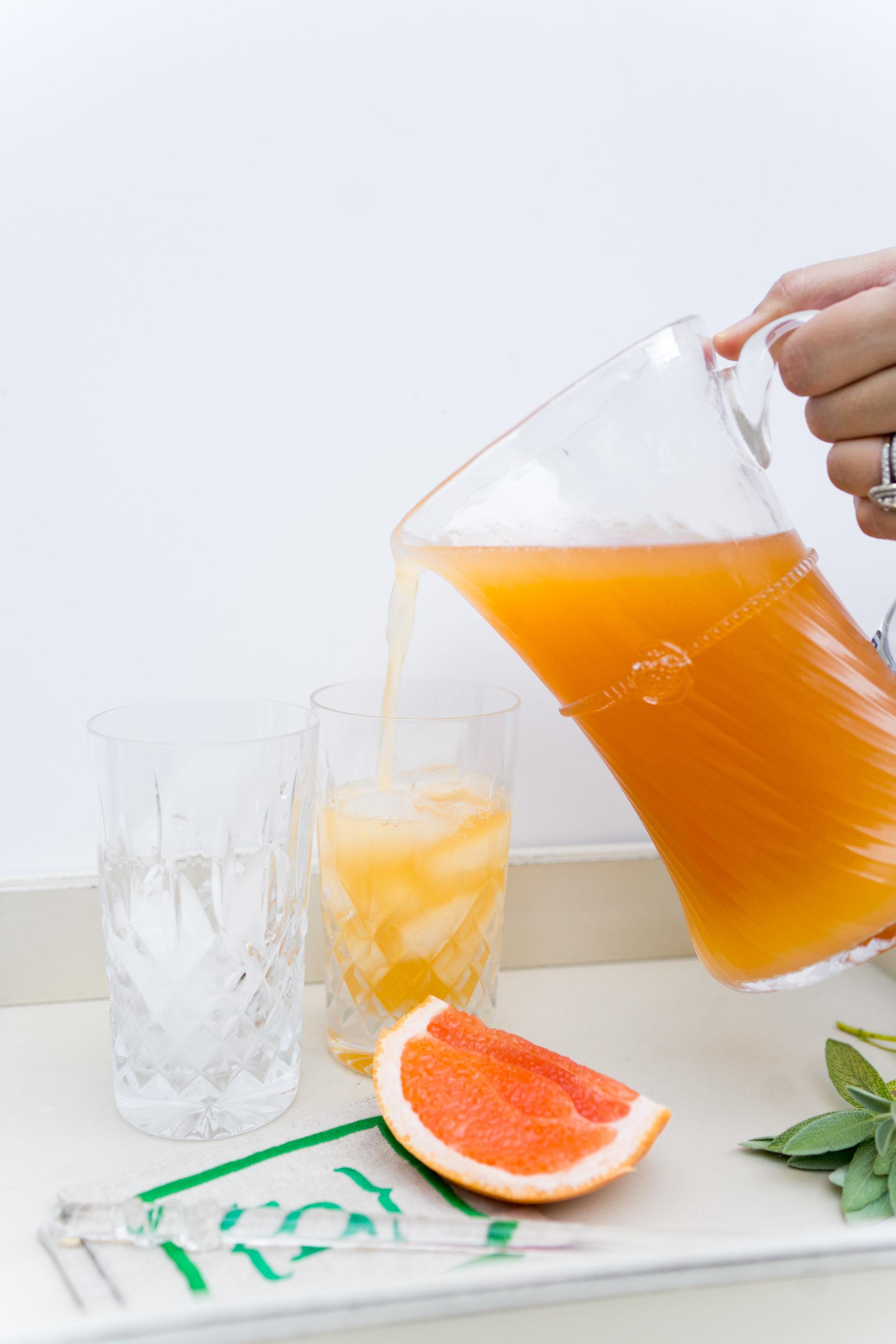 grapefruit and sage vodka spritz