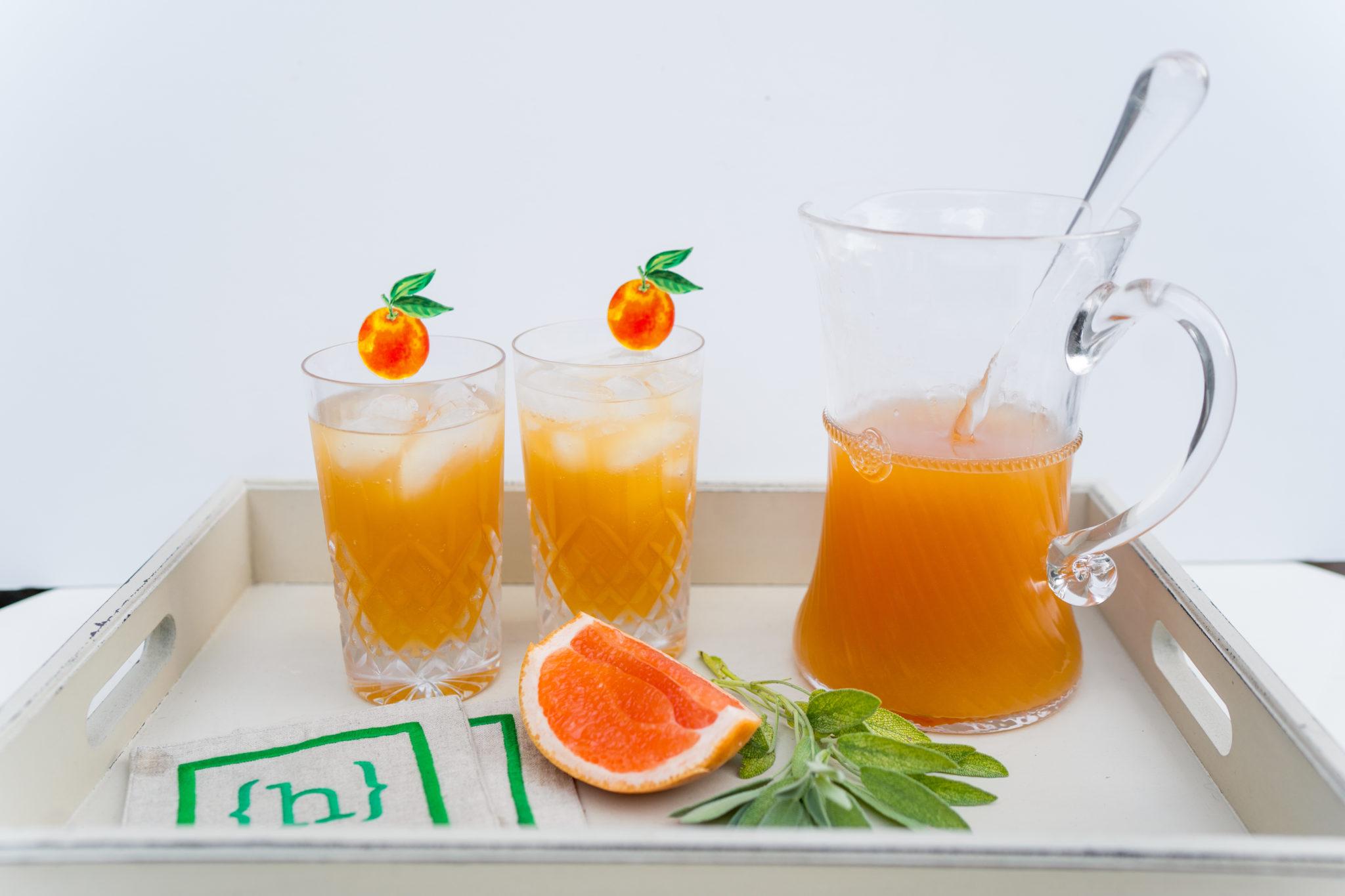 grapefruit and sage vodka spritzer
