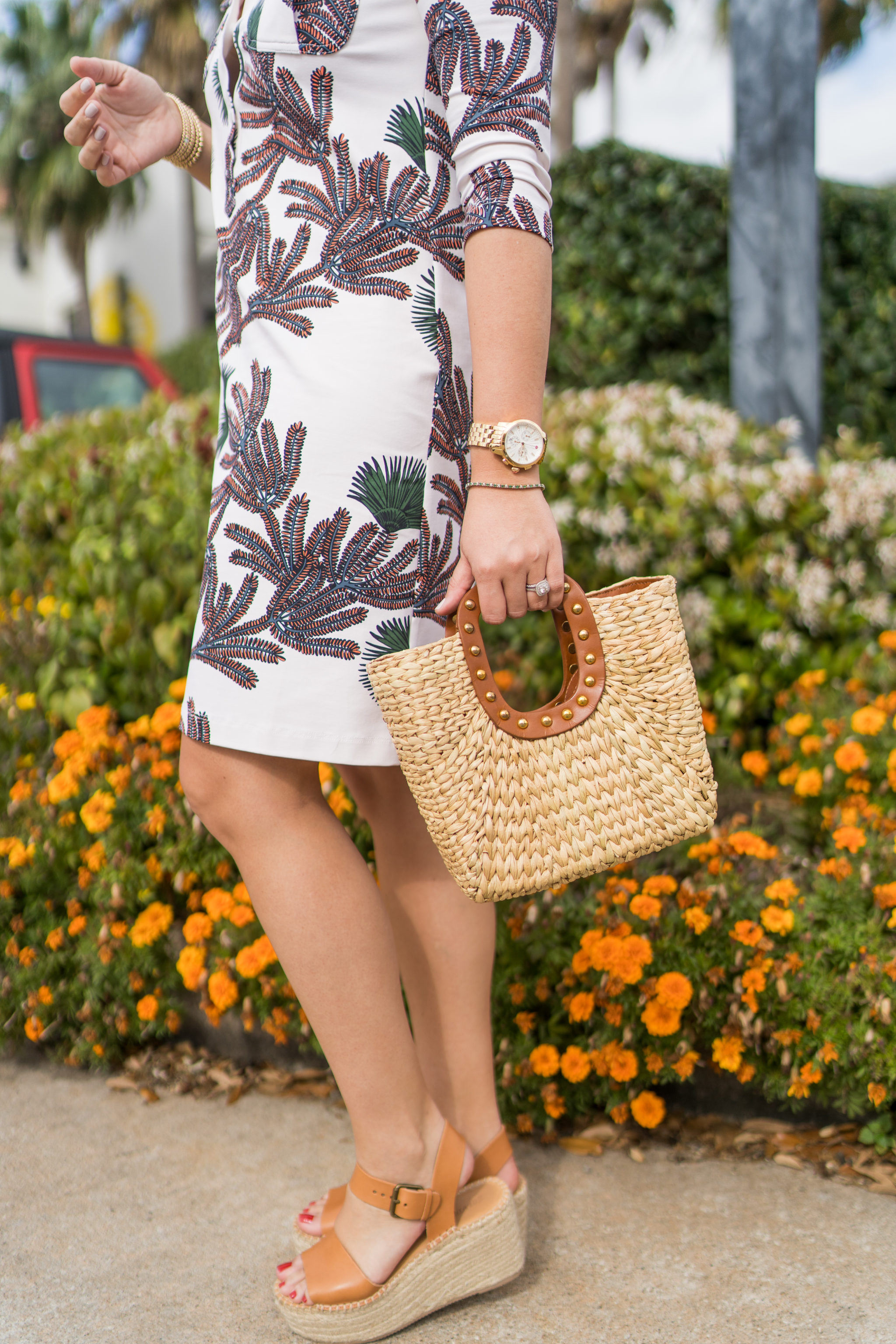 Woven straw handbag and soludos tall espadrille sandals