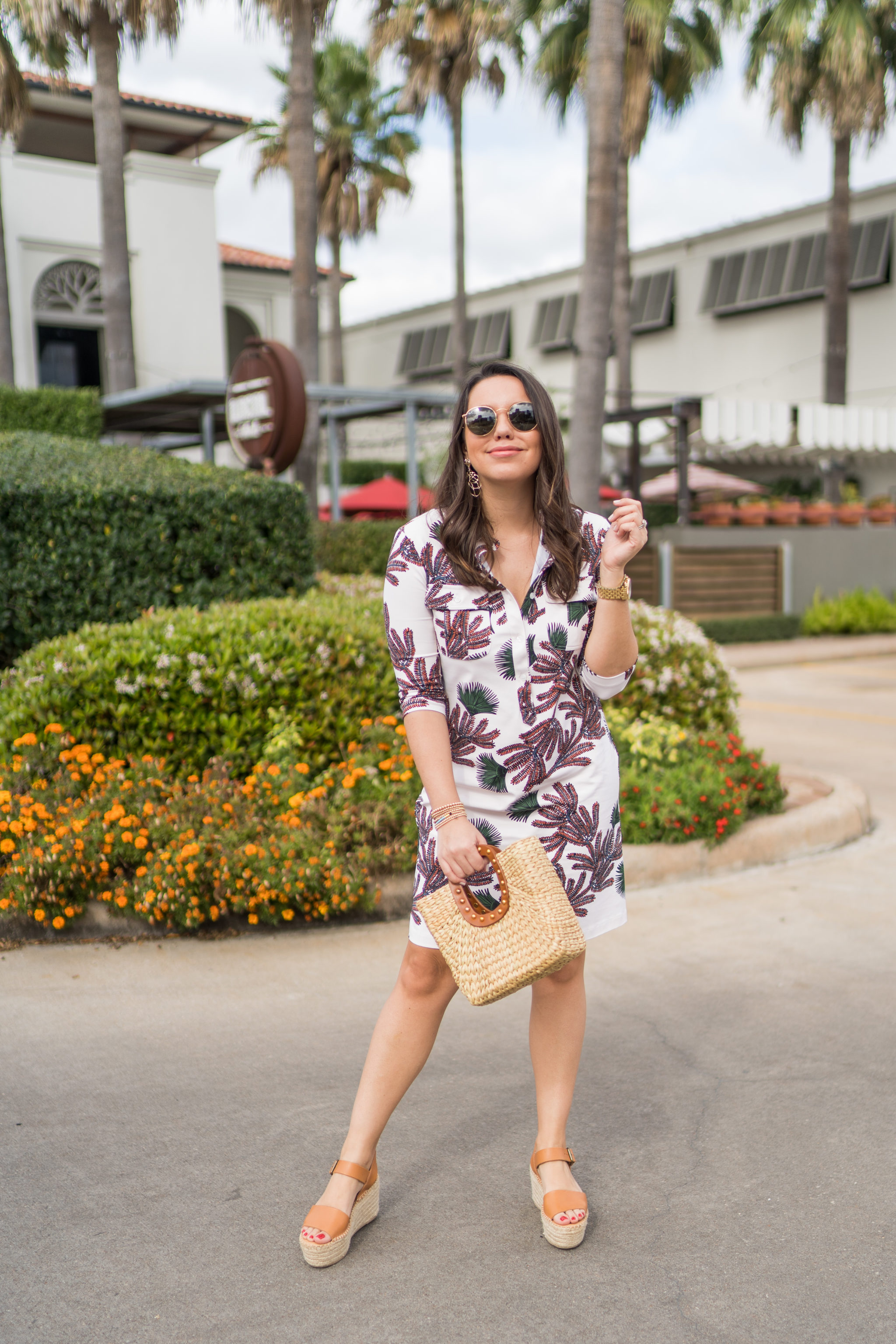 Preppy summer shirtdress and woven raffia accessories