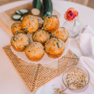 shredded zucchini oat muffins