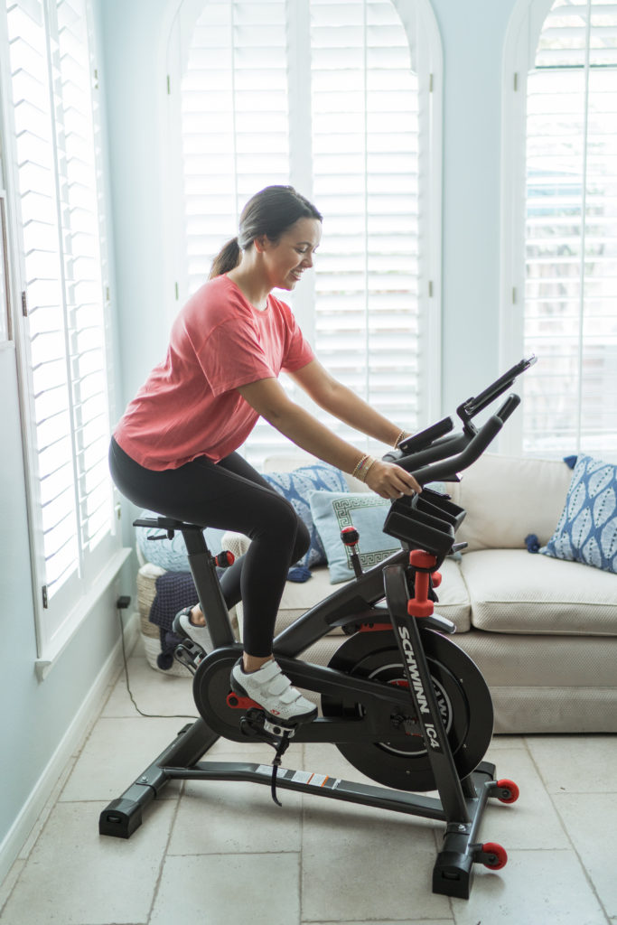 at home cycling with the Schwinn IC4 spin bike
