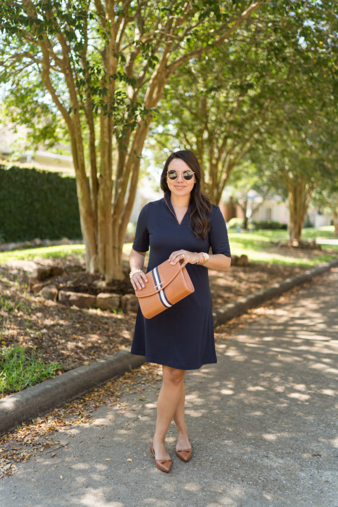 Classic navy dress with stand-up collar