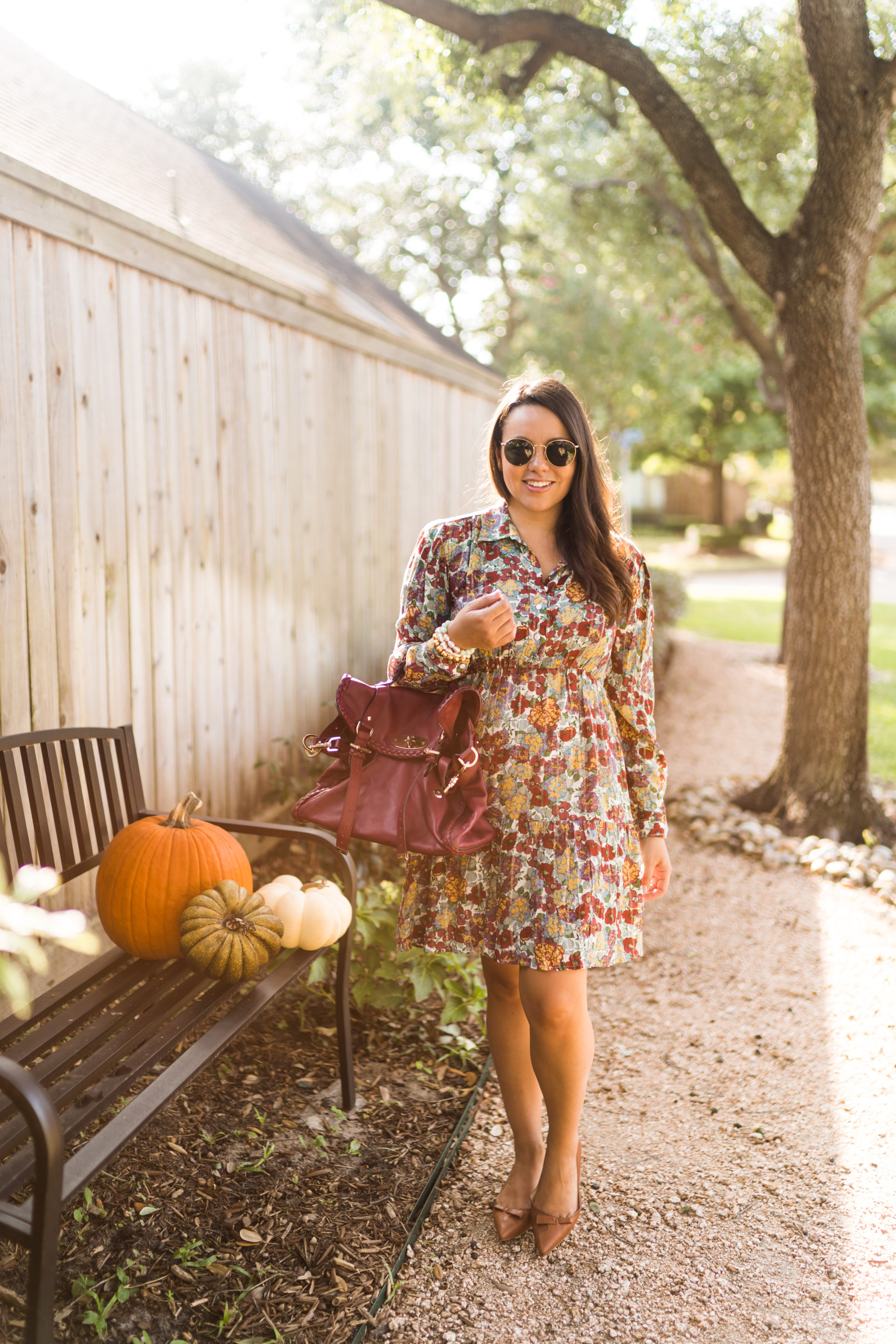 Loose fitting floral dress for Thanksgiving