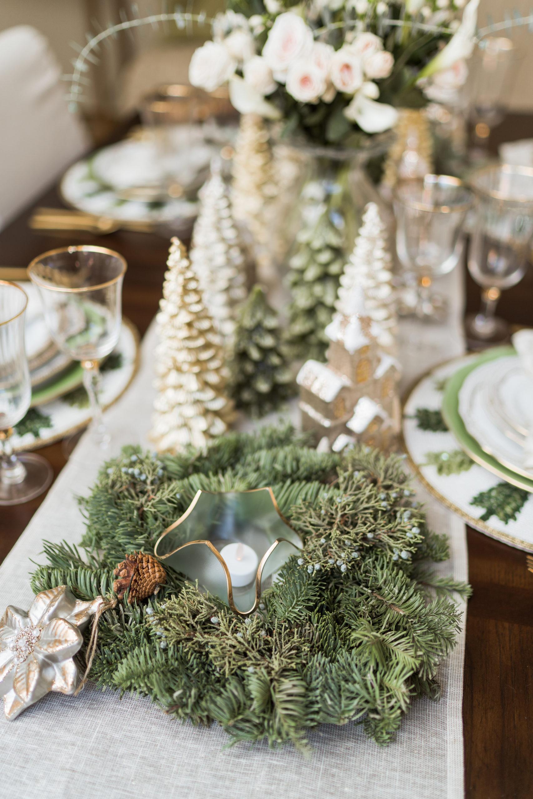 Evergreen wreathes for Christmas tabletop decor