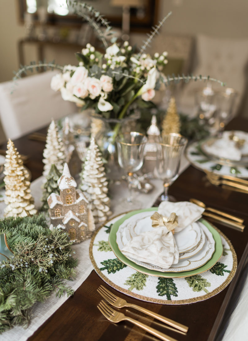 Elegant green and gold Christmas tabletop