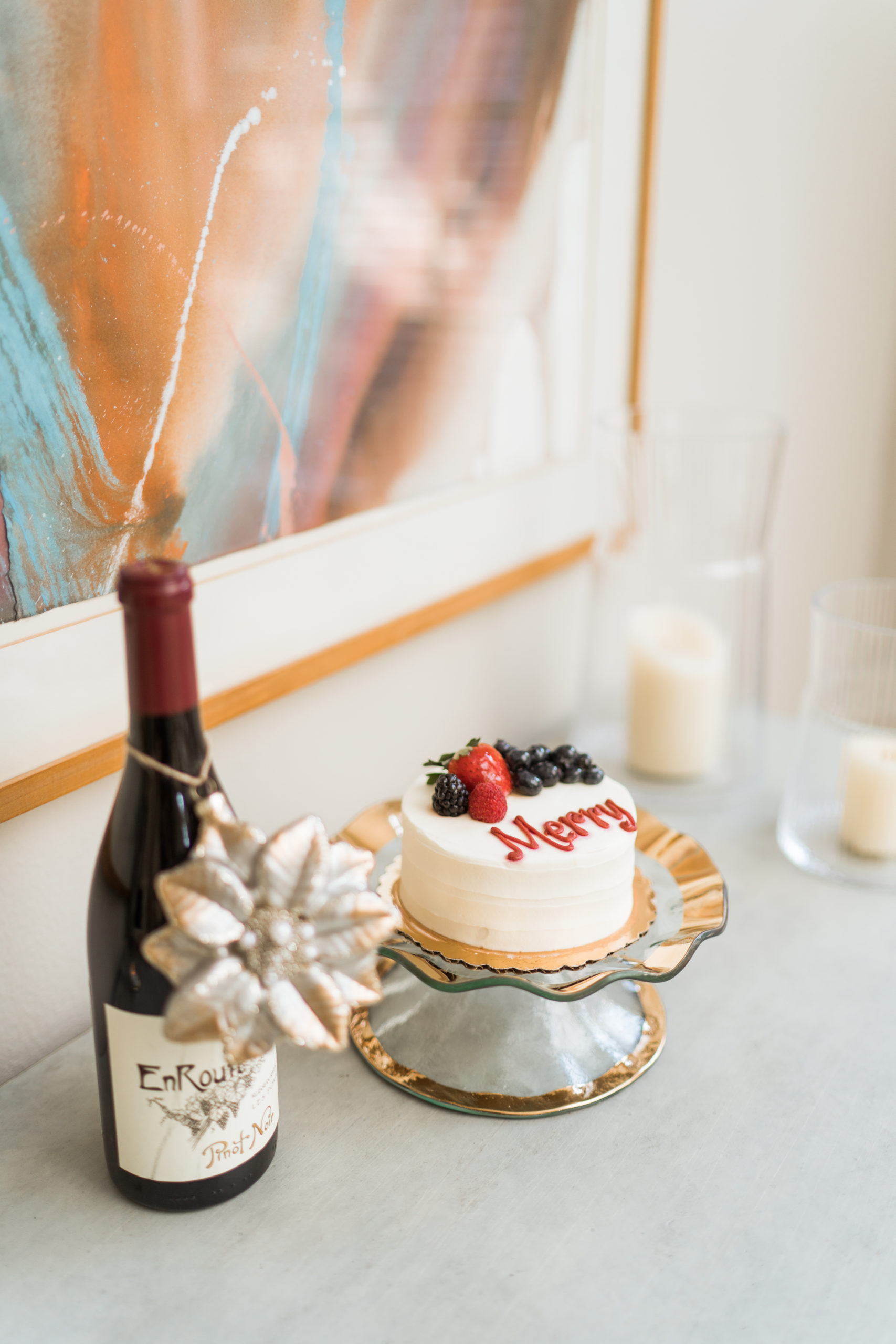Annie Glass cake plate for Christmas