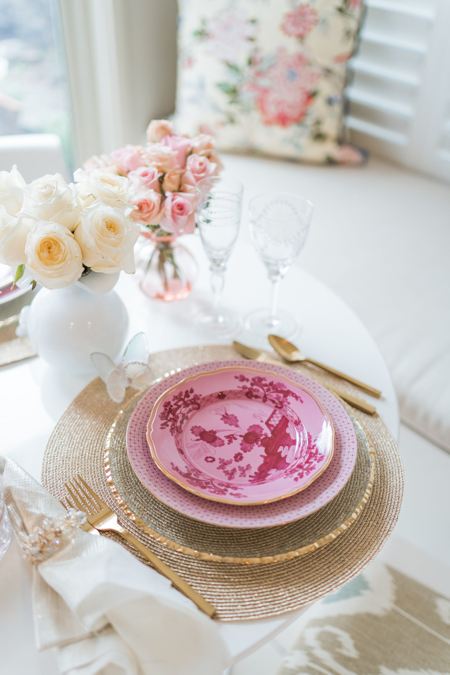 Pink & gold Valentine's Day tablescape for two
