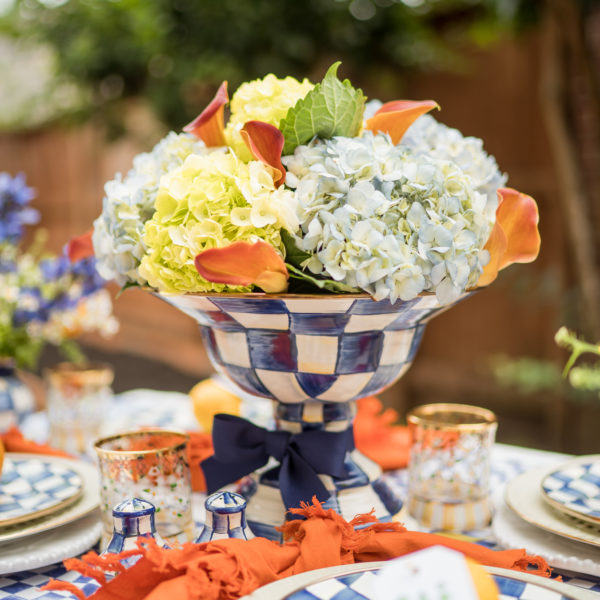 MacKenzie-Childs Royal Check table centerpiece