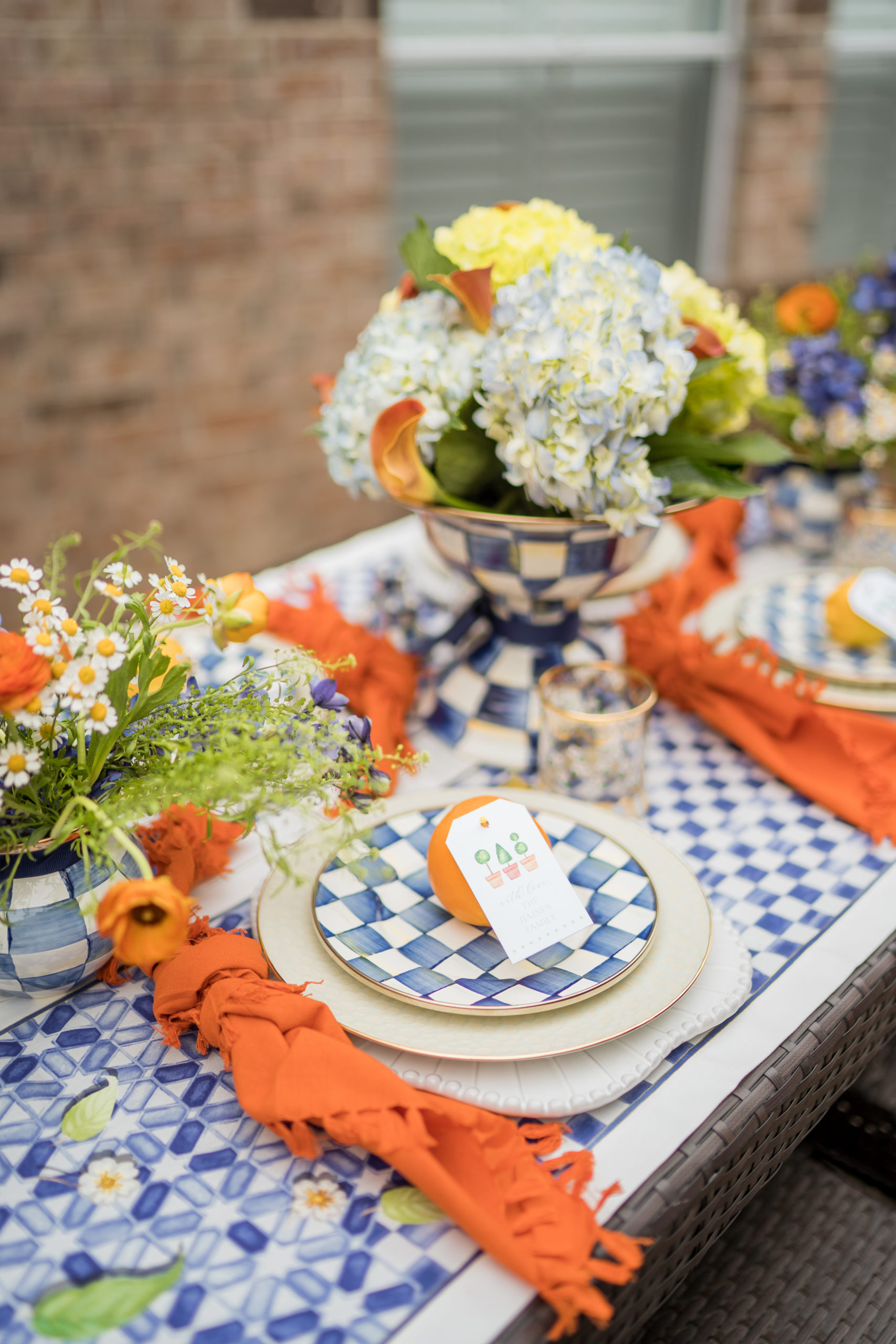 Gingham check tablescape for summer