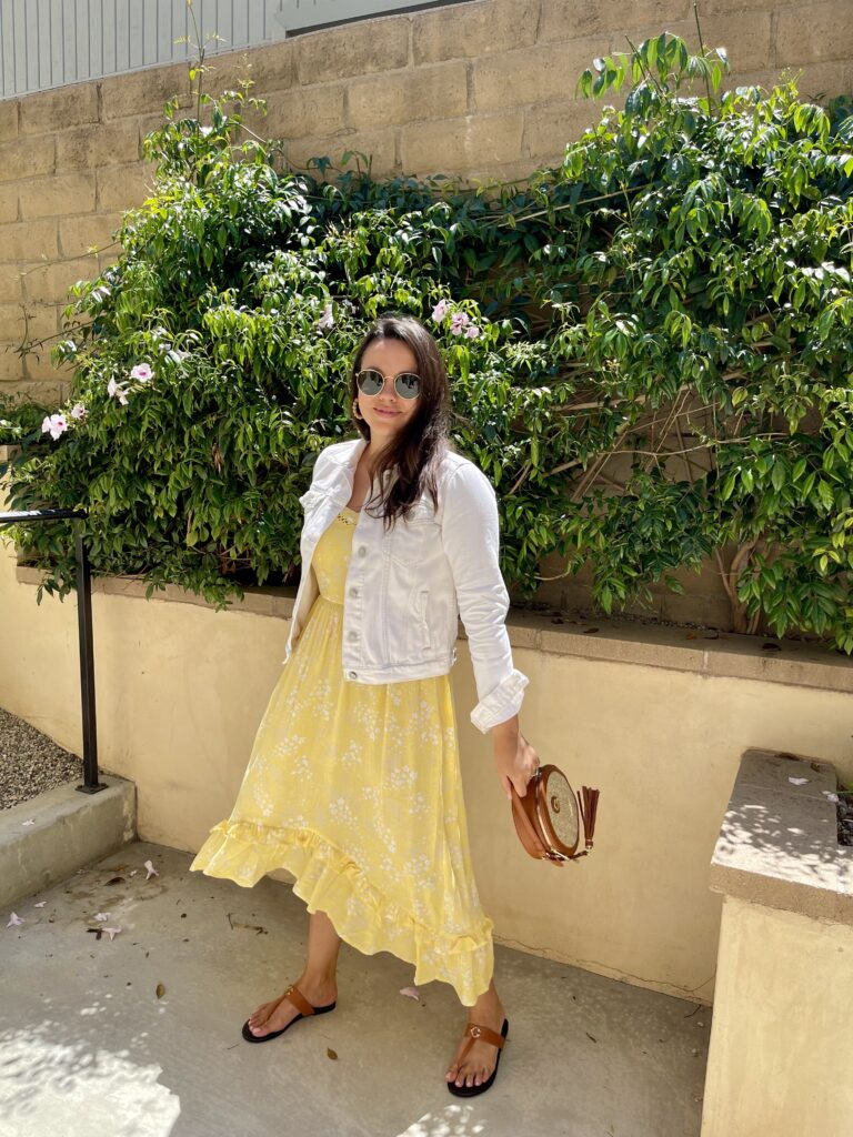 Floral yellow summer midi dress | Adored by Alex