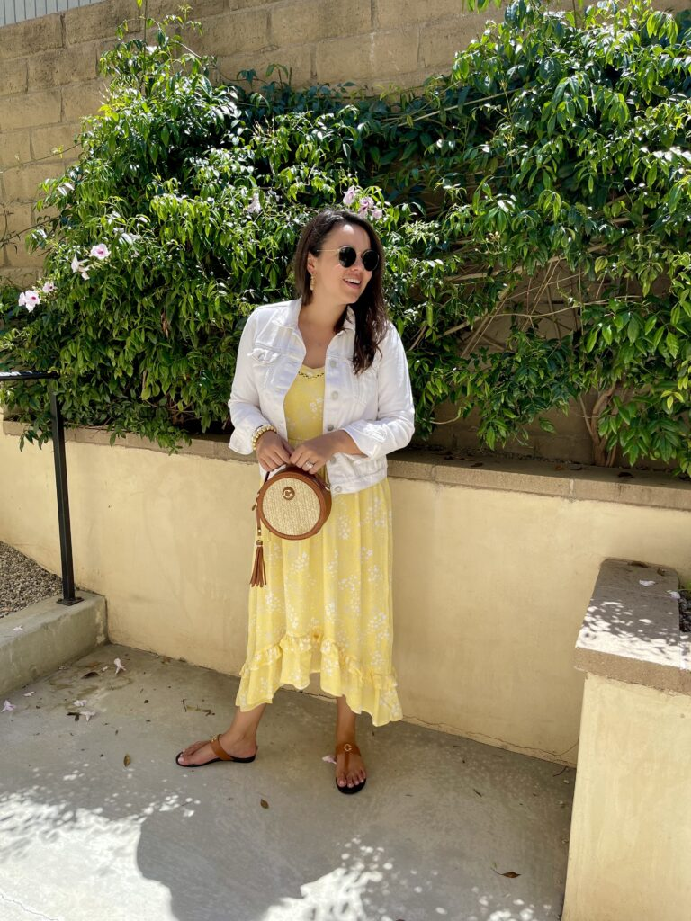 affordable yellow print midi dress for summer | Adored by Alex
