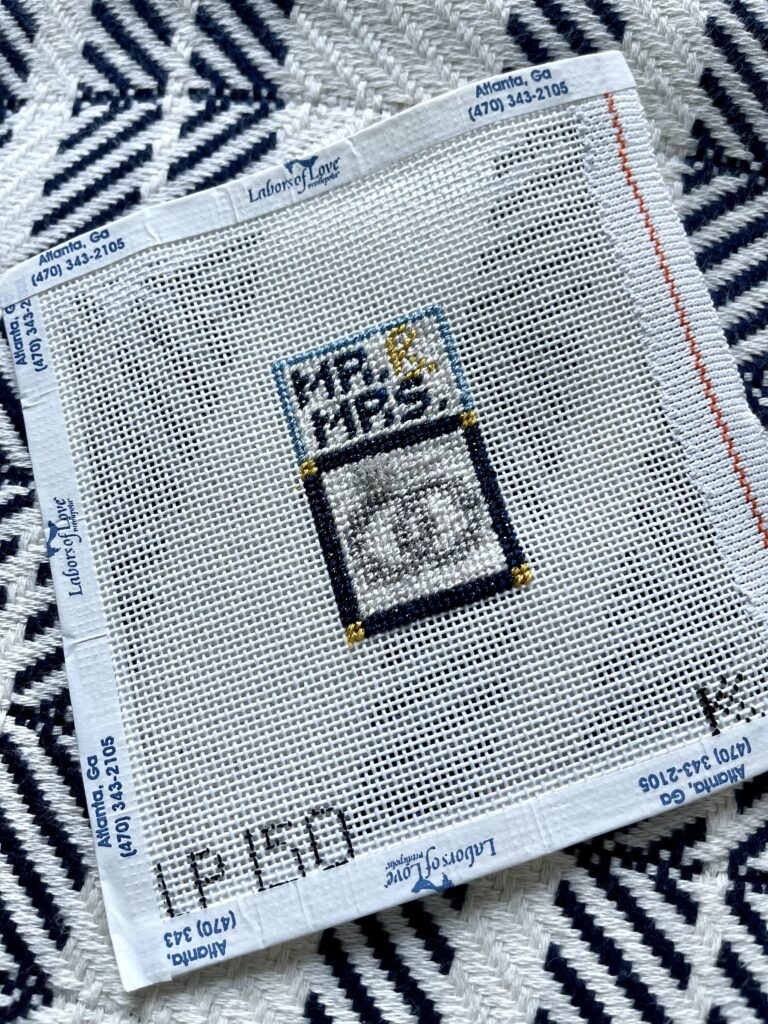 needlepoint engagement gift idea   Adored by Alex